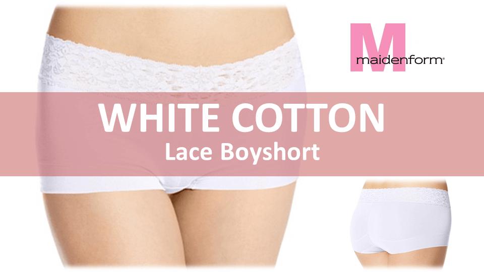 White Cotton Panties - Maindenform Boyshort