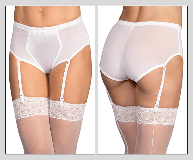 White Gaff Panty Briefs - With Garters Image 50